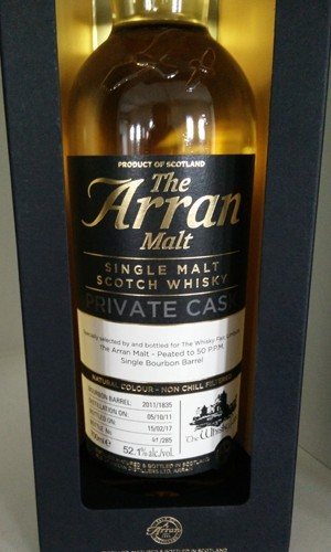 Arran 2011 peated barrel, 52.1% for The Whisky Fair