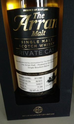 Arran 2011 peated barrel, 52.8% for The Whisky Fair